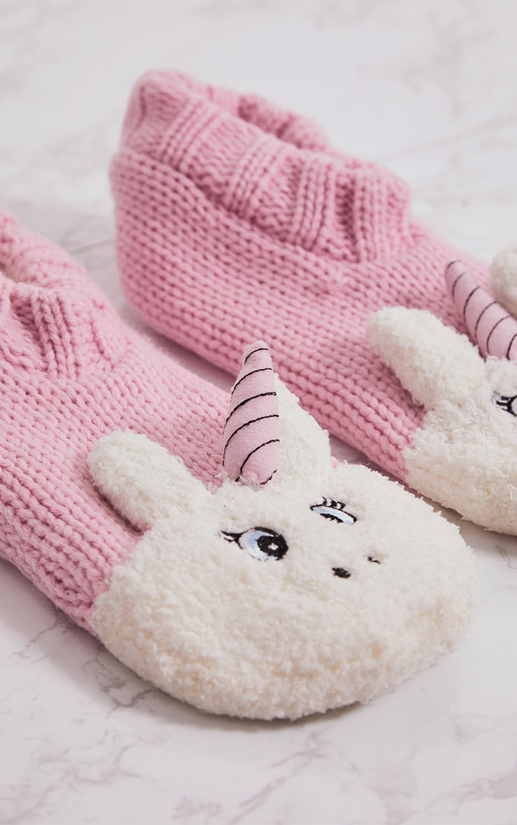 Pink Unicorn Slipper Socks 4