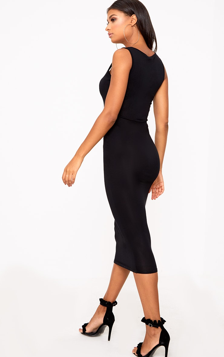 Black Scoop Neck Midaxi Dress 2
