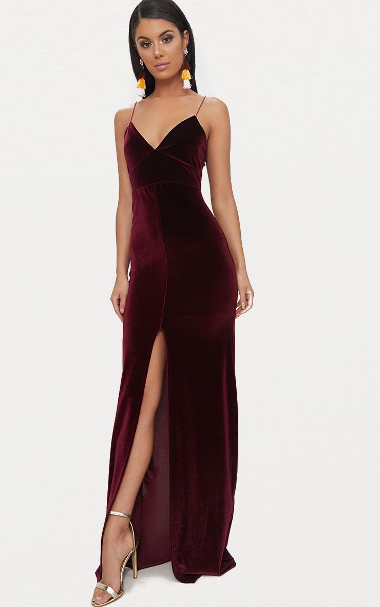 Burgundy Velvet Plunge Strappy Split Detail Maxi Dress 1