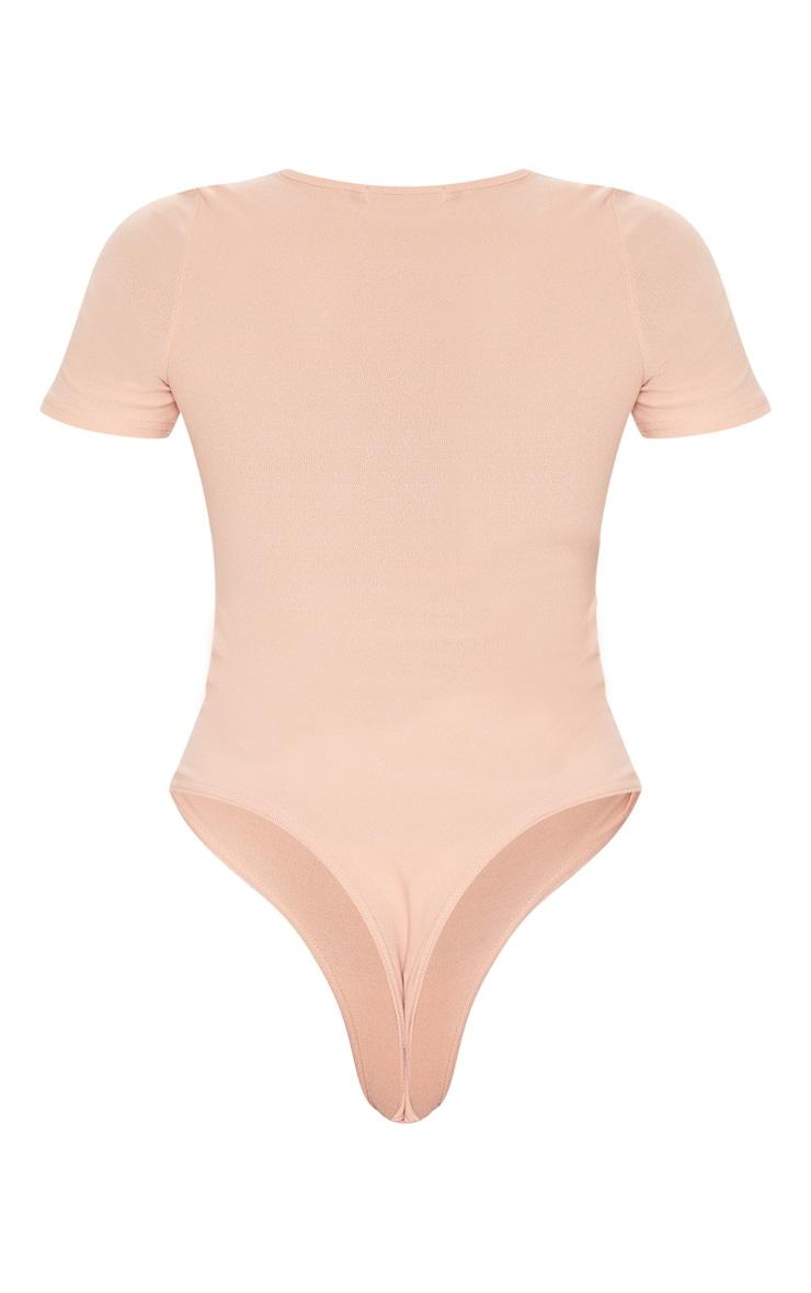 Peach Crepe Short Sleeve Thong Bodysuit 4
