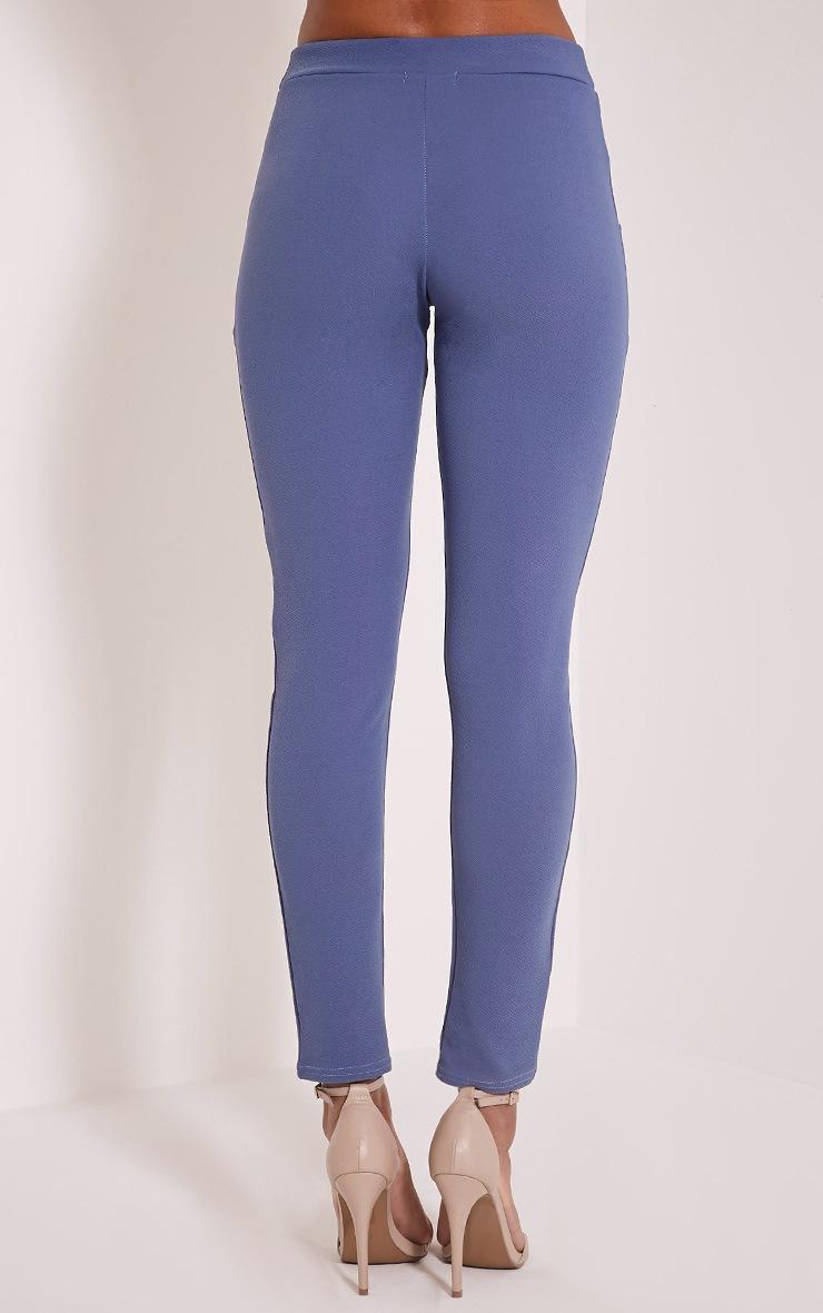 Sage Petrol Blue Crepe Cigarette Trousers 5