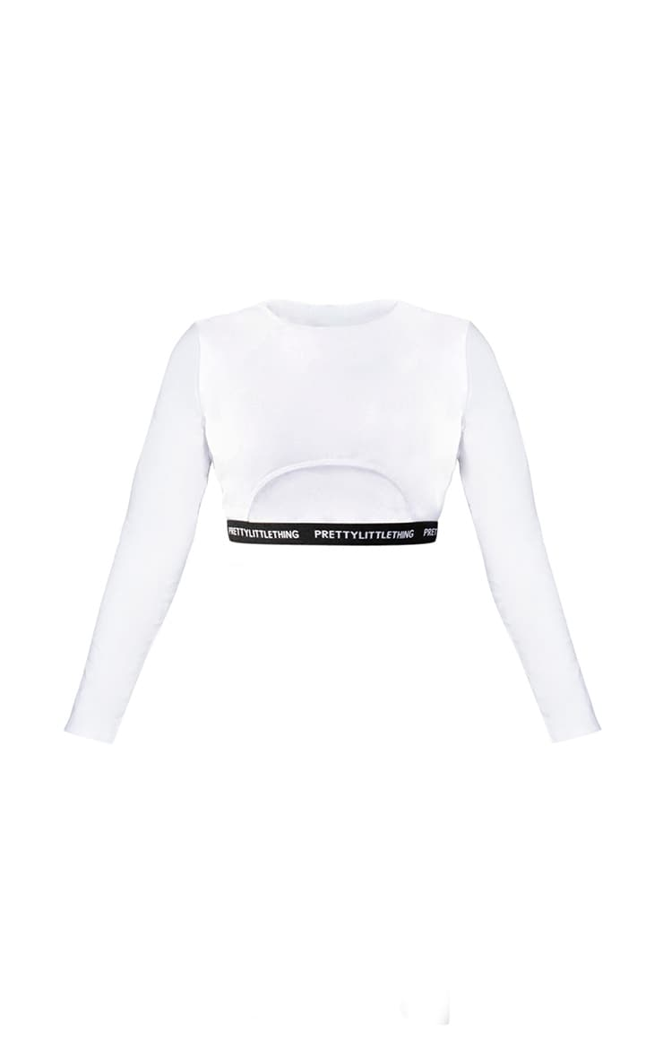 PRETTYLITTLETHING Plus White Long Sleeve Crop Top 5