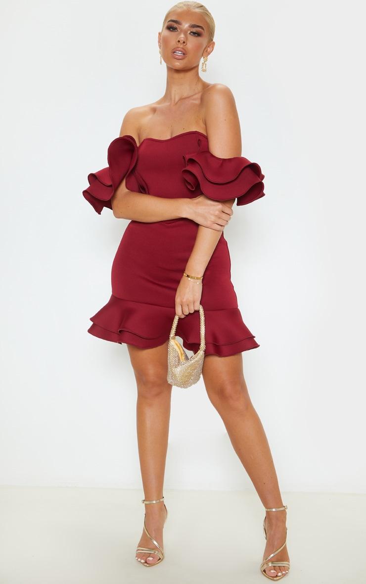 Burgundy Bonded Scuba Bardot Frill Hem Bodycon Dress 1