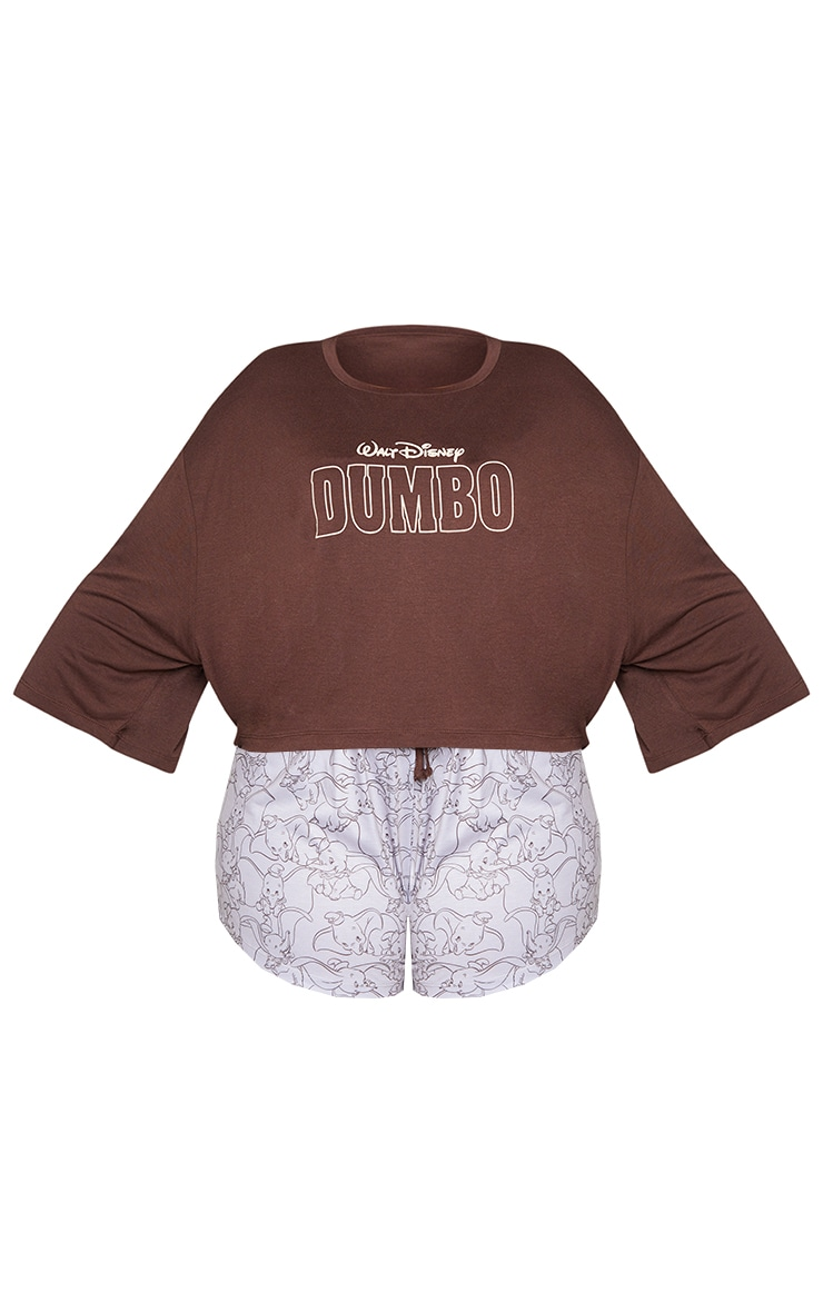 Plus Brown Disney Dumbo T shirt And Shorts PJ Set 5