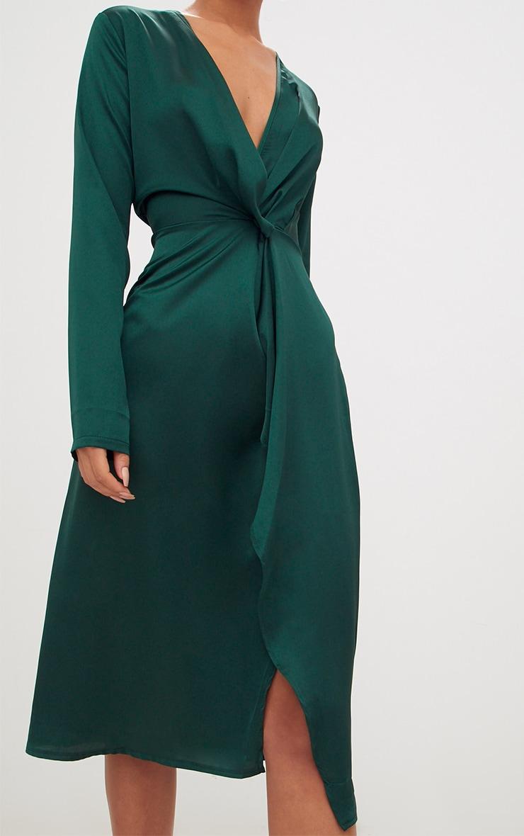 Emerald Green Satin Long Sleeve Wrap Midi Dress 5
