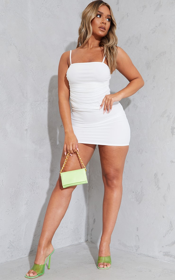 Shape Cream Strappy Ruched Mesh Bodycon Dress 3