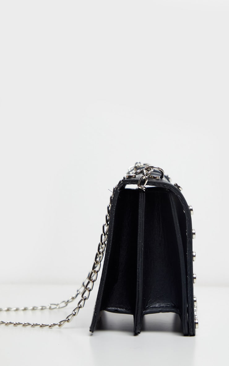 Sac à bandoulière clouté noir imitation croco 5