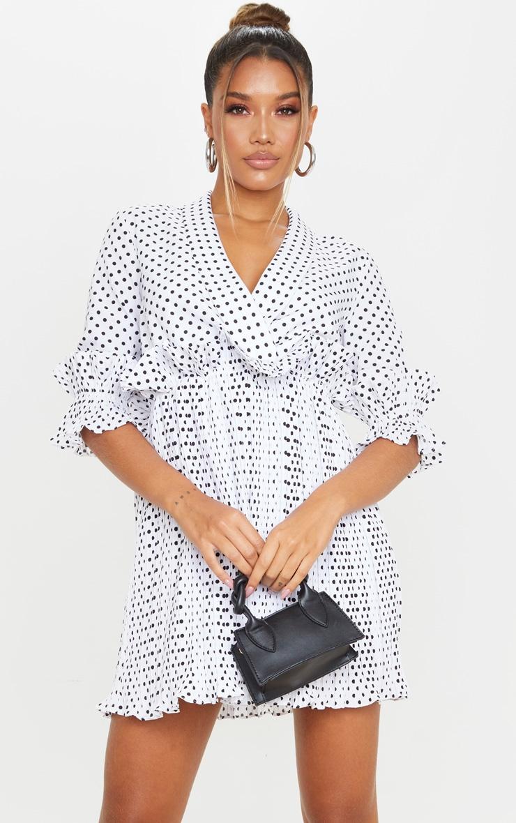 White Polka Dot Frill Detail Pleated Skater Dress 1