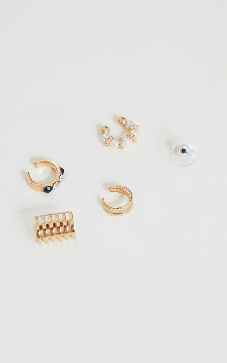 Gold Pearl Ear Cuff and Stud 5 Pack 3