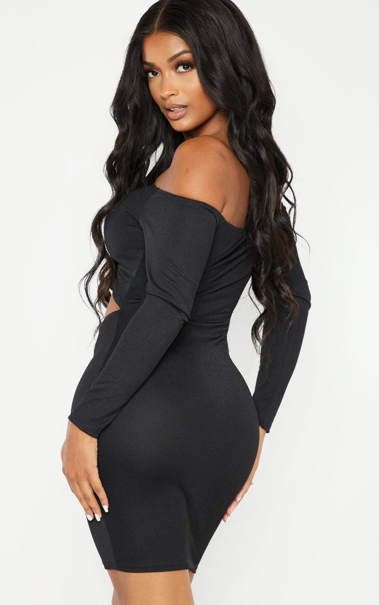 Shape Black Ruched Front Bardot Mini Dress 2