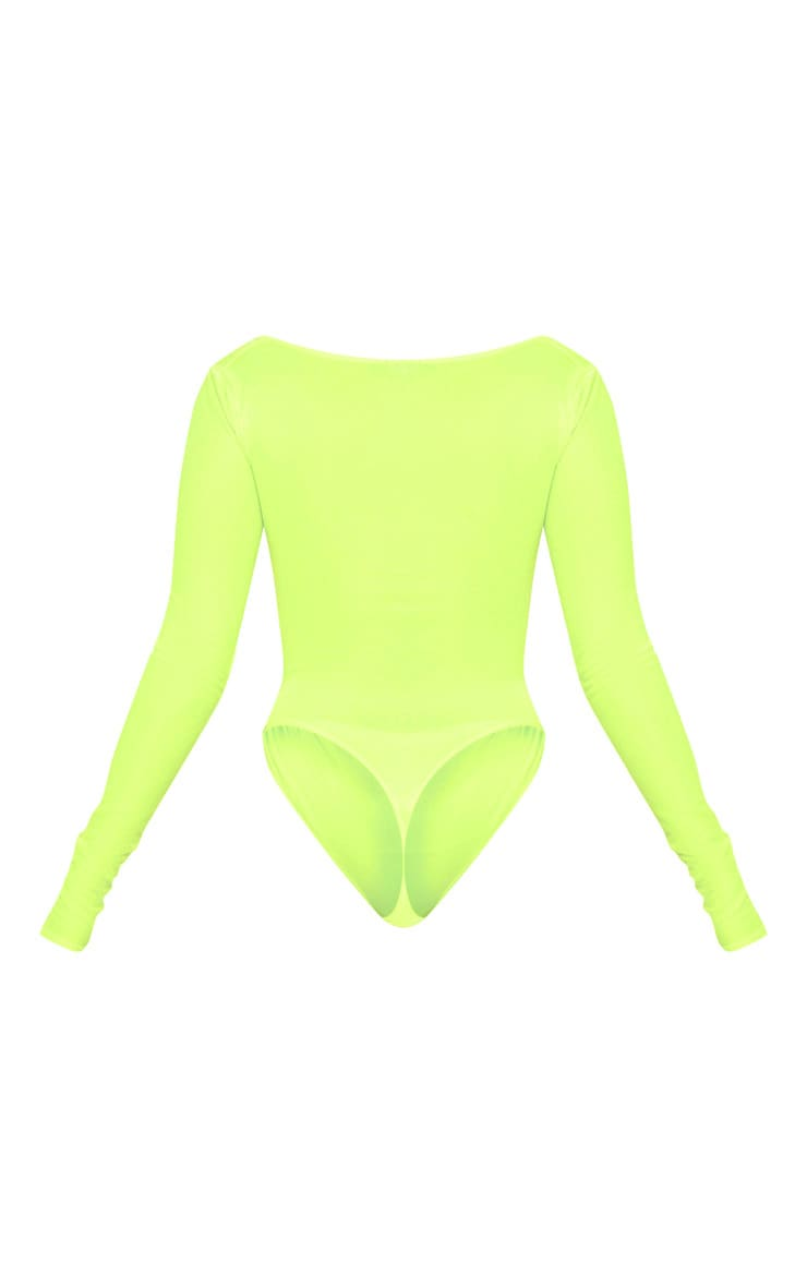 Neon Yellow Ruched Long Sleeve Bodysuit 4