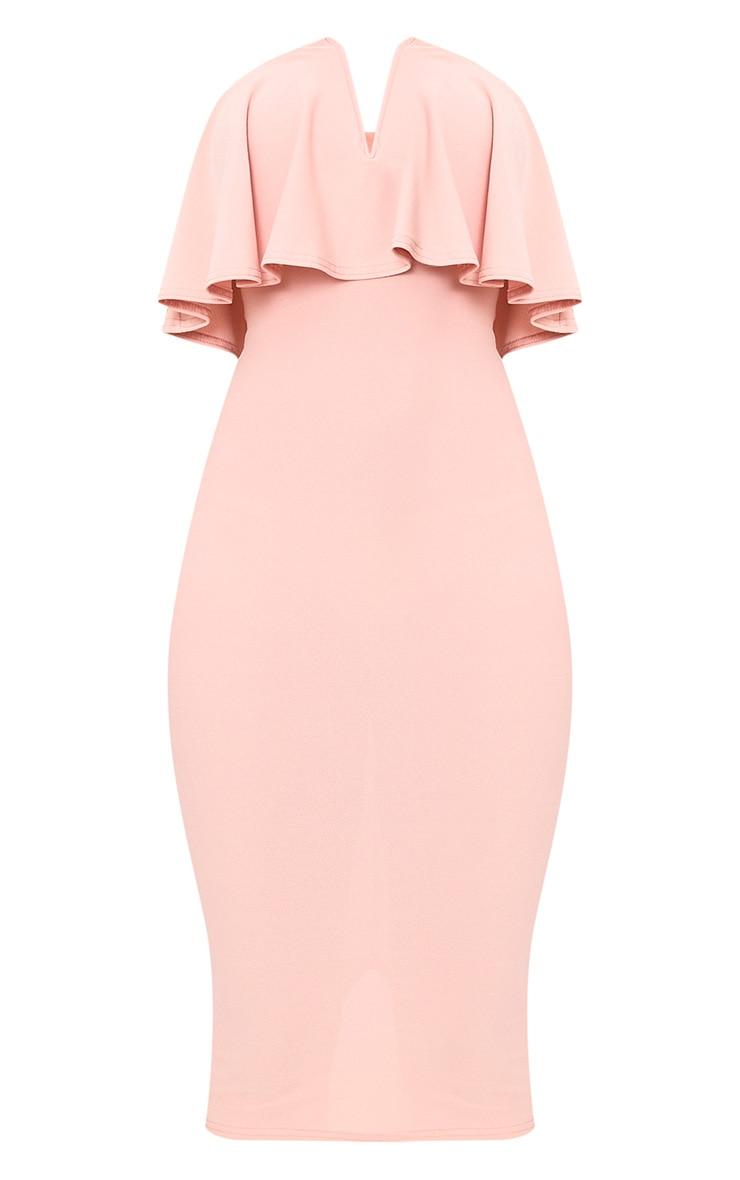 Dusty Pink Frill Plunge Bandeau Midi Dress 3