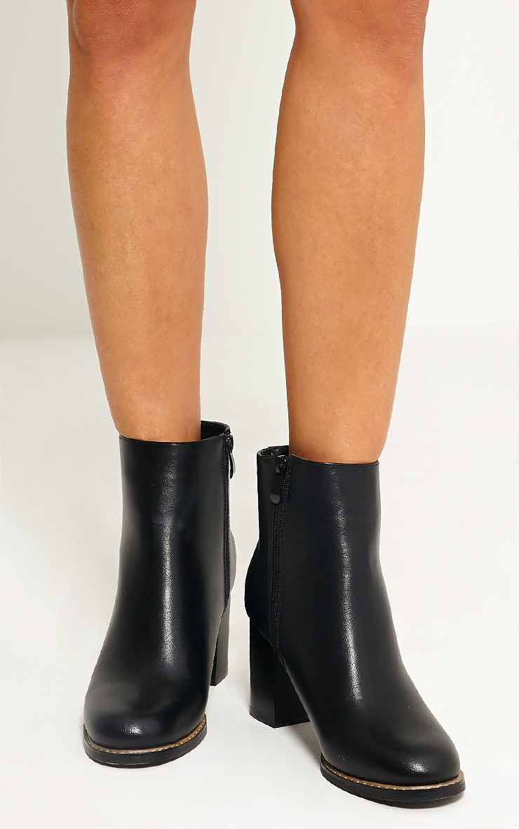 Elana Black Faux Leather Heeled Ankle Boots 3