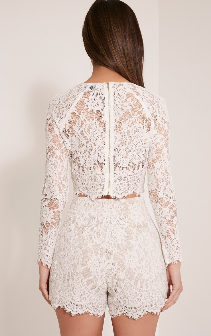Ellena White Lace Long Sleeve Crop Top 2