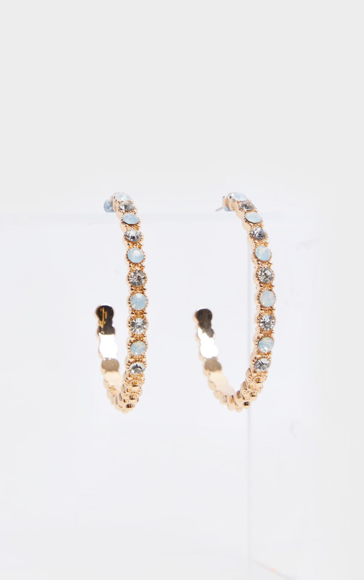 Gold Half Hoops With White And Clear Stones Earrings 3