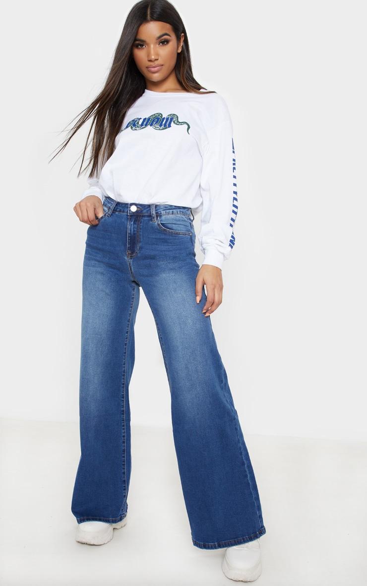 Dark Wash Wide Leg Jeans 1