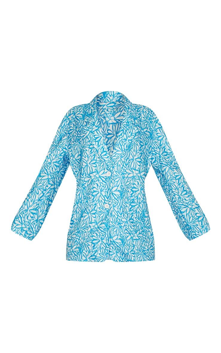 Blue Floral Print Oversized Blazer 5