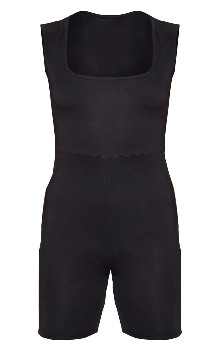 Black Basic Square Neck Unitard 3