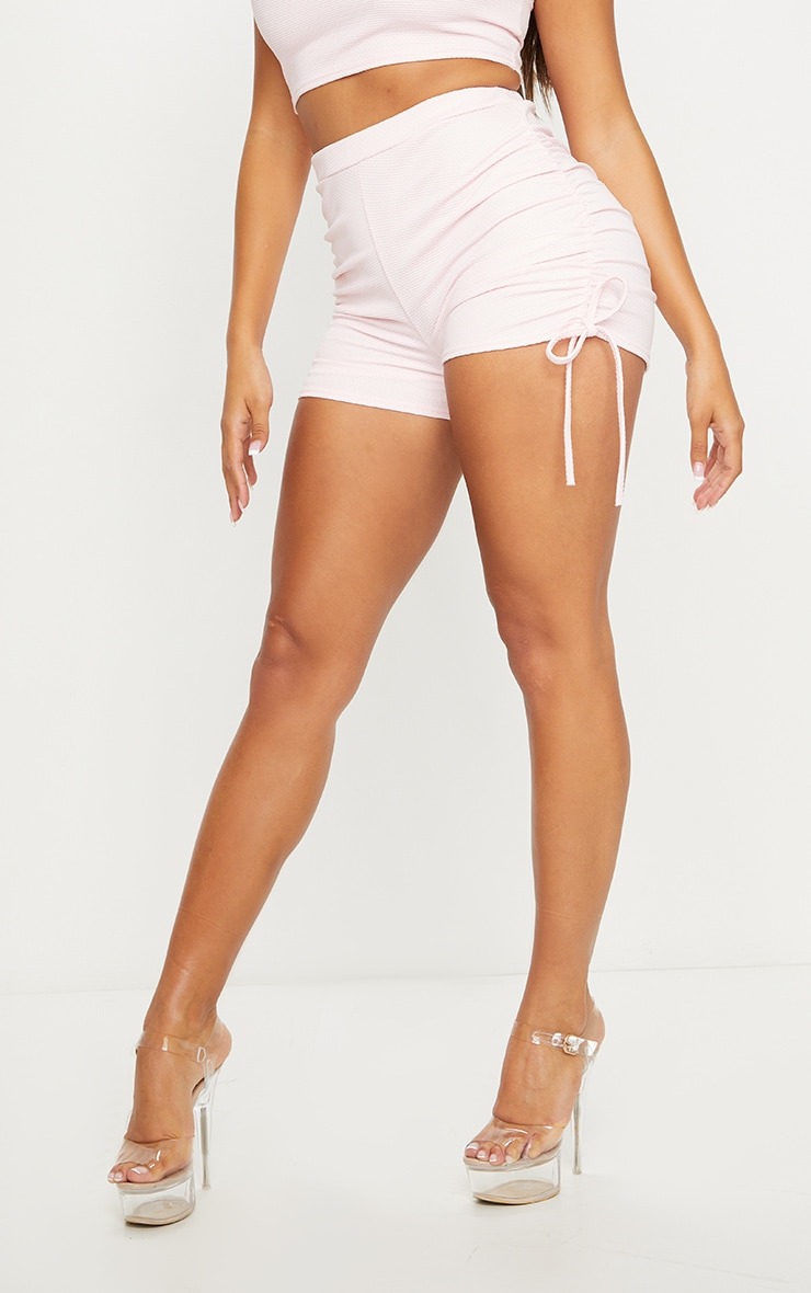 Shape Baby Pink Crinkle Ruched Side Bike Shorts 2