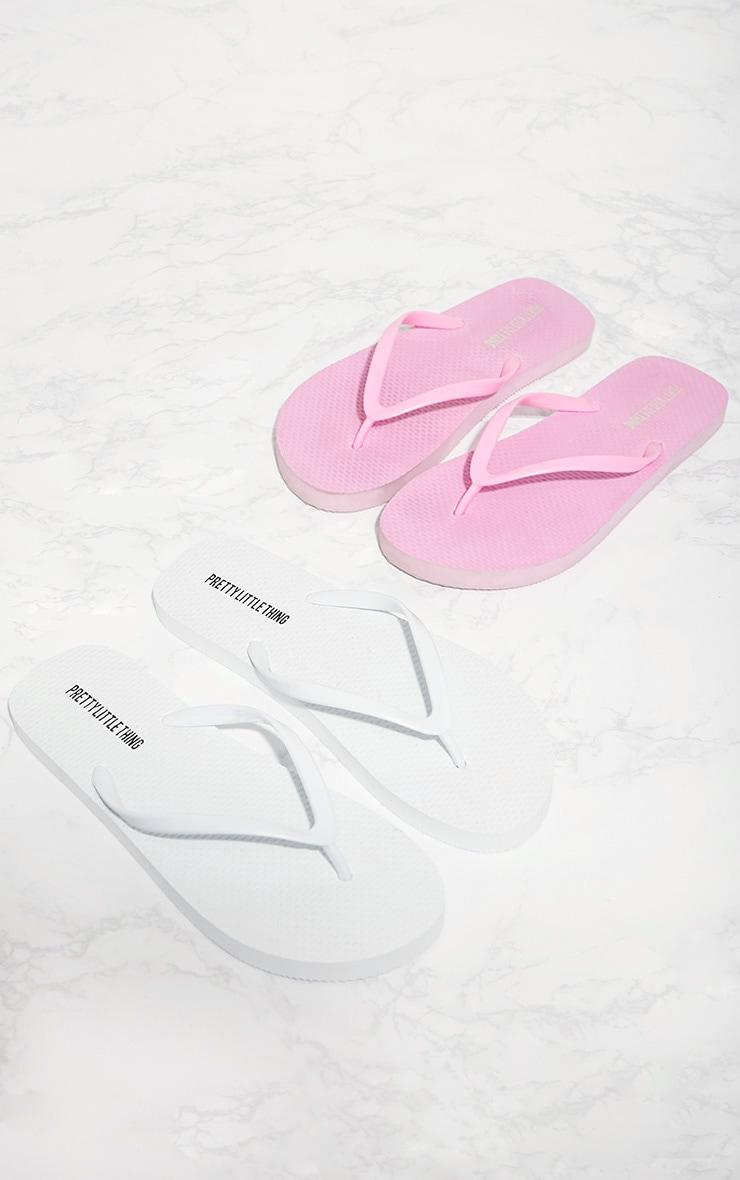 White & Pink Flip Flop 2 Pack 2
