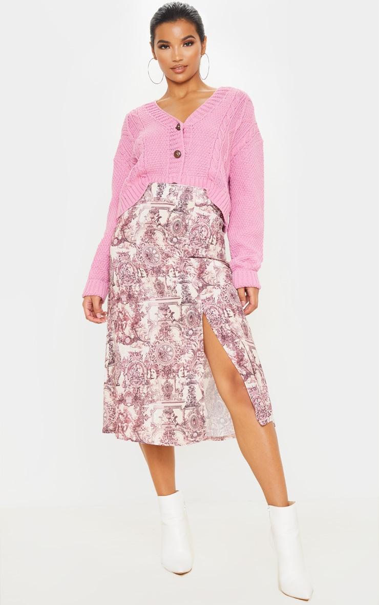 Stone Renaissance Print Floaty Midi Skirt 1