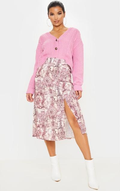 Stone Renaissance Print Floaty Midi Skirt