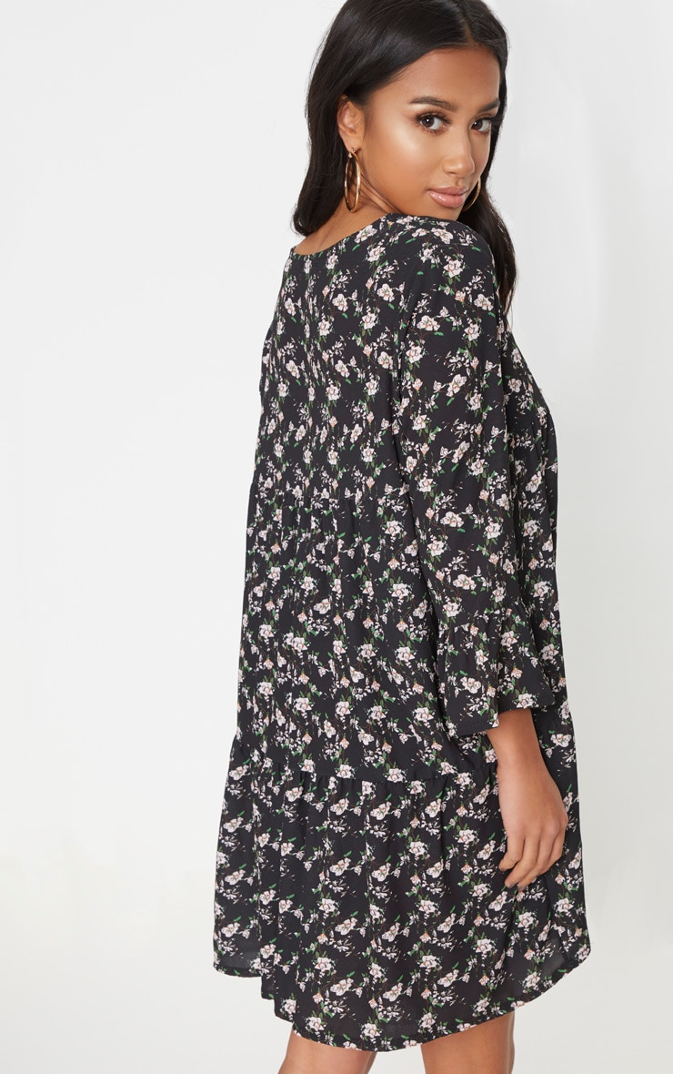 Petite Black Ditsy Floral Smock Dress 2