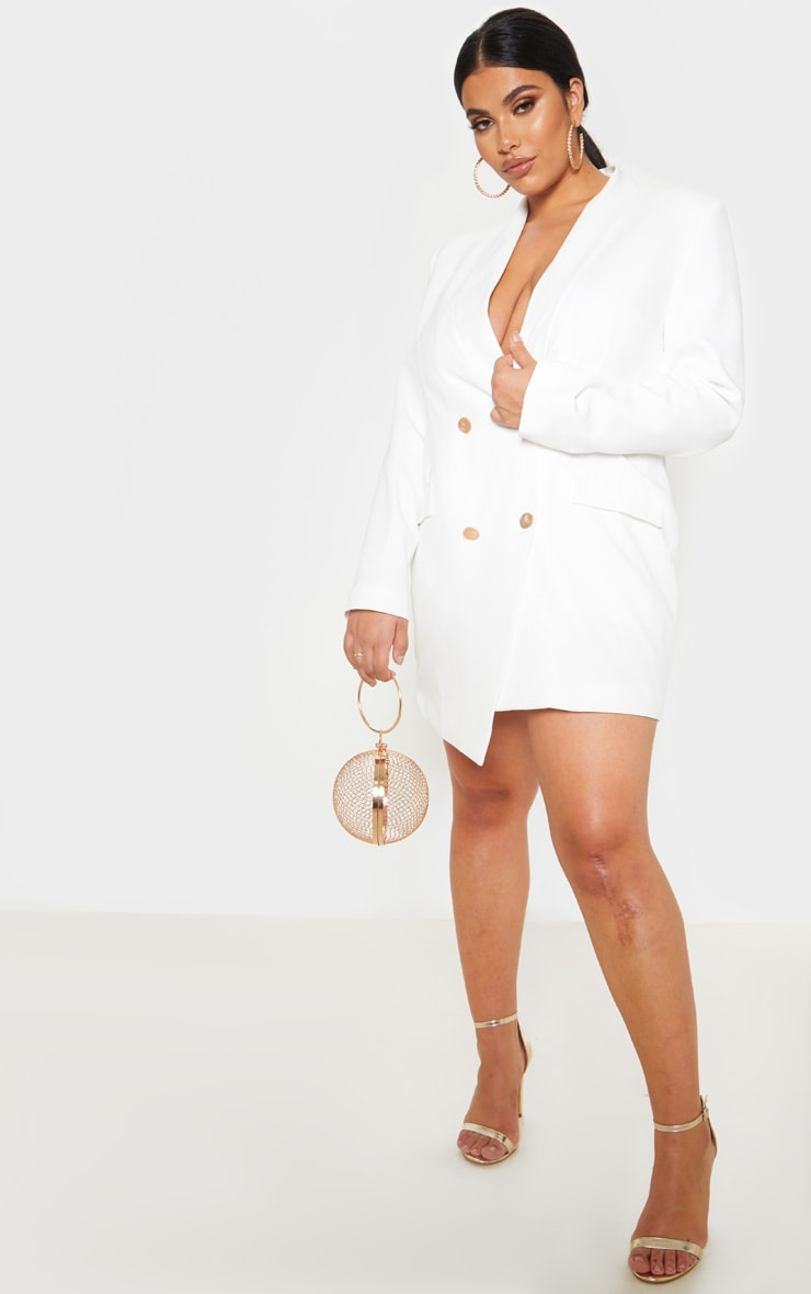 Plus White Gold Button Blazer Dress 4