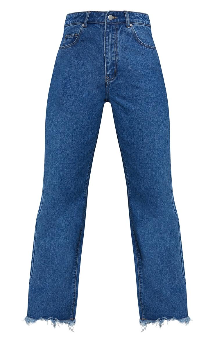 Mid Blue Wash Denim Frayed Hem Wide Leg Jeans 5