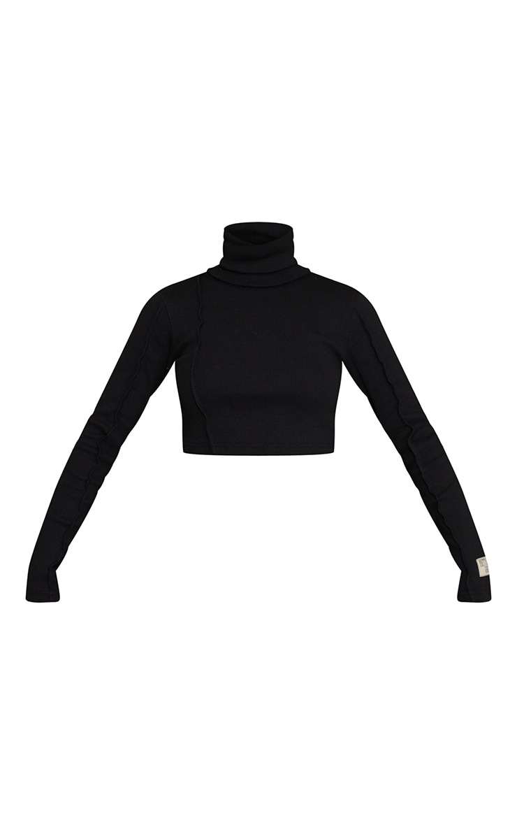 PRETTYLITTLETHING Black Badge Structured Rib High Neck Long Sleeve Crop Top 5
