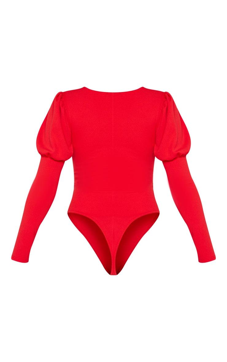 Scarlet Crepe Puff Sleeve Square Neck Bodysuit 4