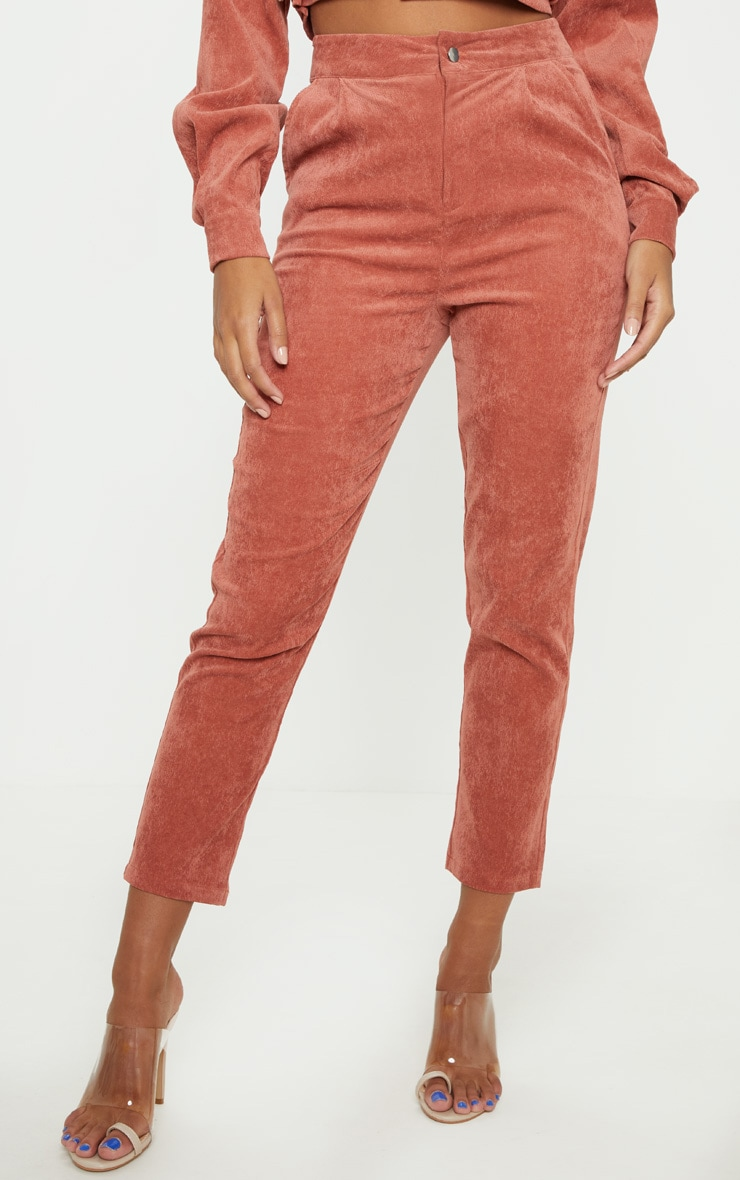 Peach Cord High Waisted Straight Leg Trouser 2