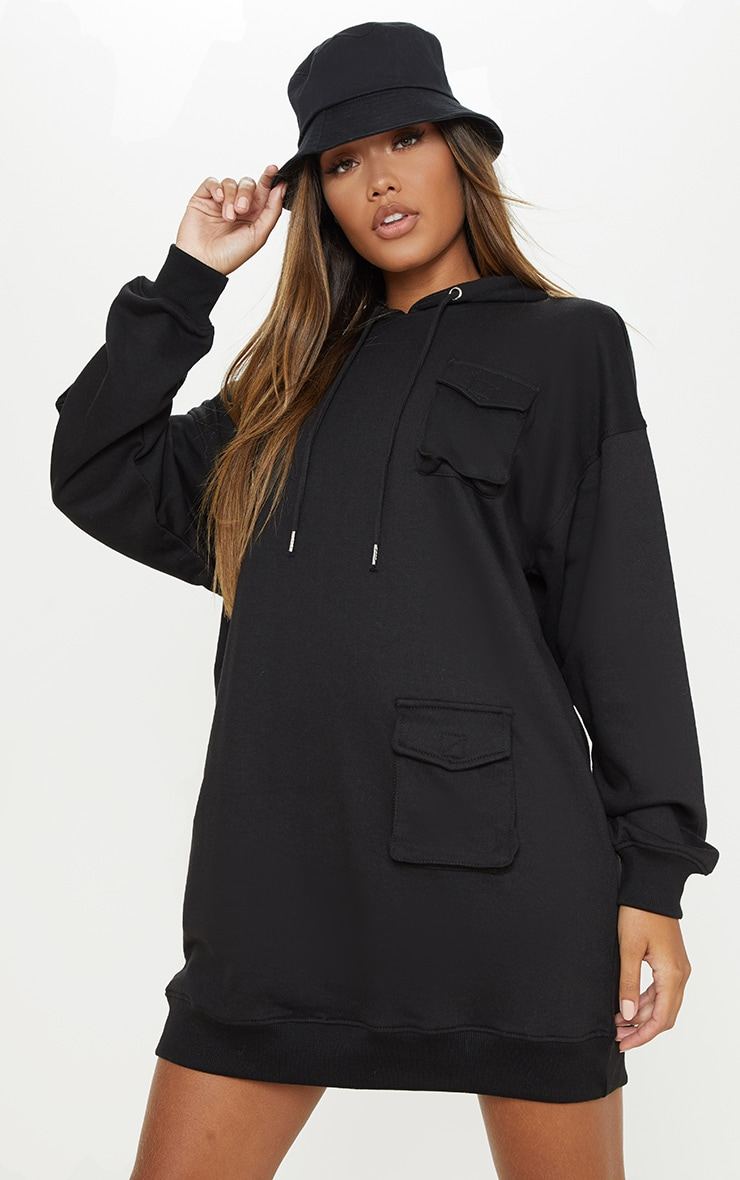 Black Pocket Front Hoodie Dress 1