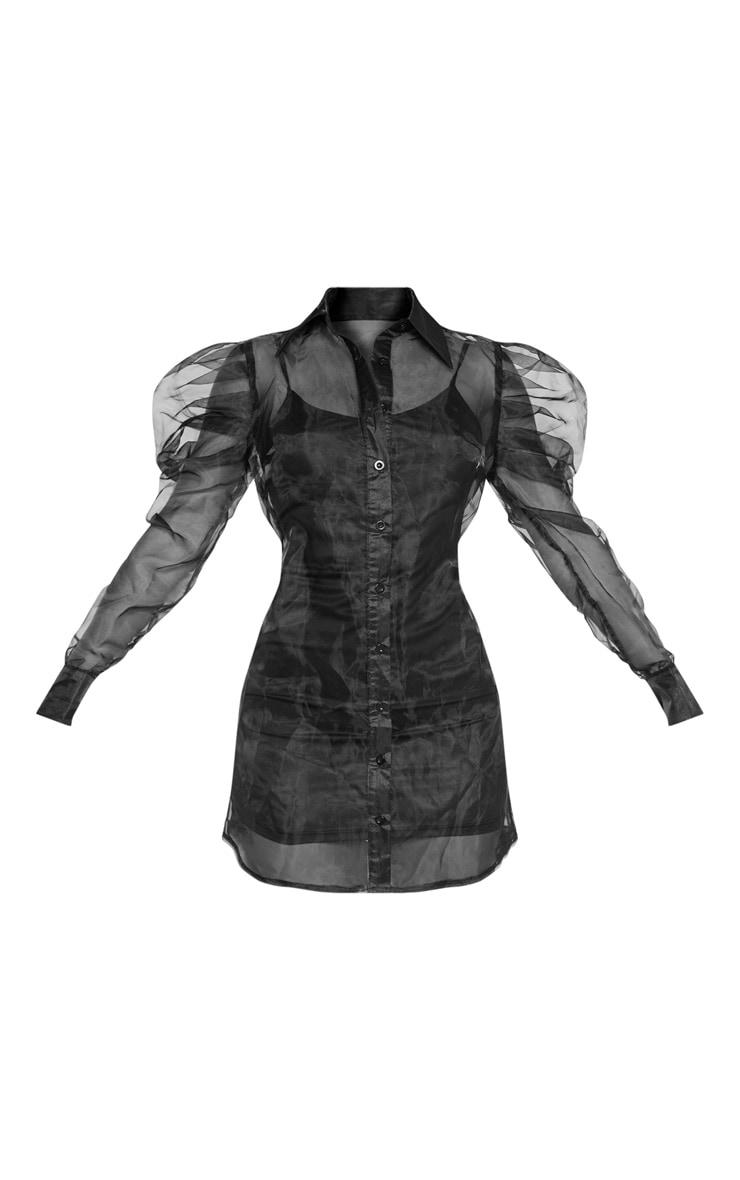 Black Puff Shoulder Organza Shirt Dress 3