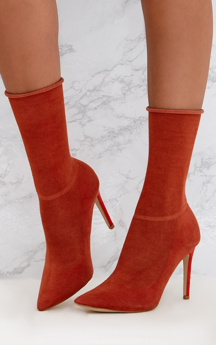 Orange Knitted Sock Boots 2