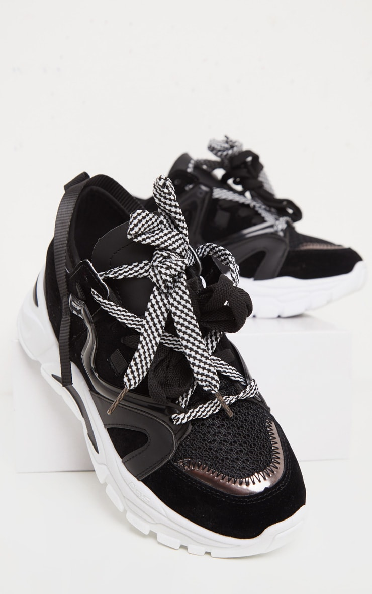 Black Panel Detail Contrast Lace Chunky Sneakers 3