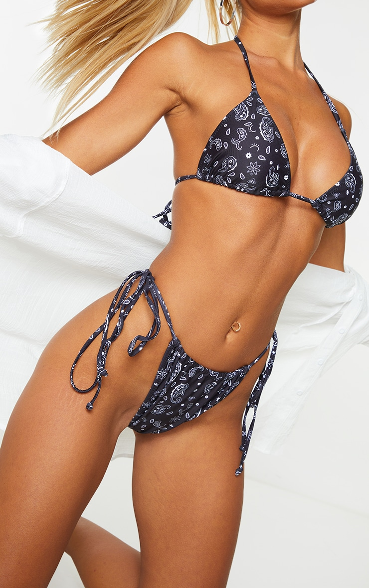Black Paisley Print String Padded Triangle Bikini Top 4