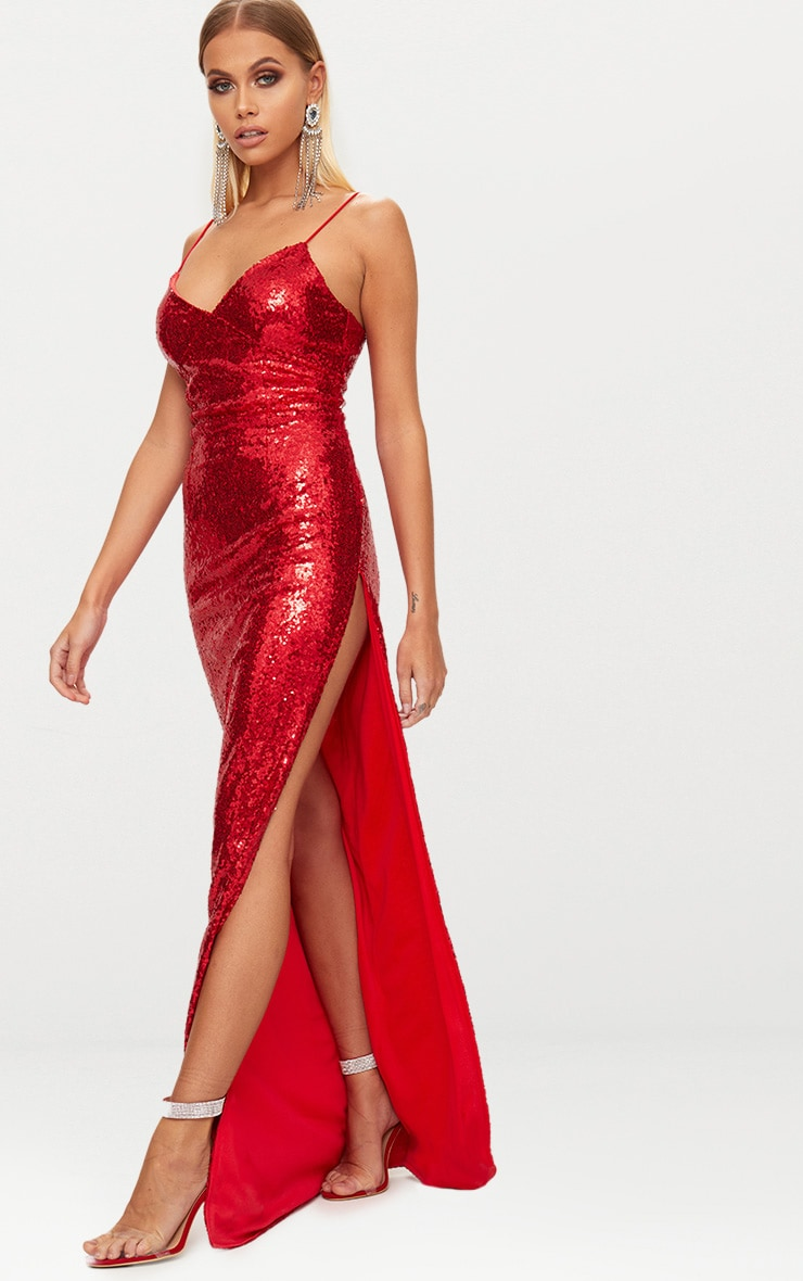 Red Sequin Extreme Split Plunge Maxi Dress 5