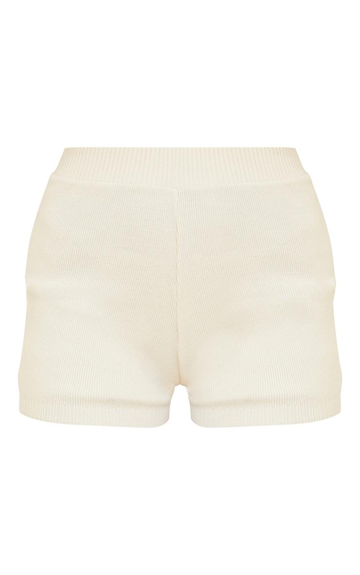 Cream Knitted High Waisted Short 6