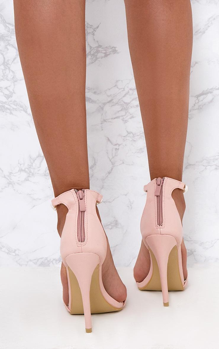 Blush Pearl T-Bar Strap Heels 4