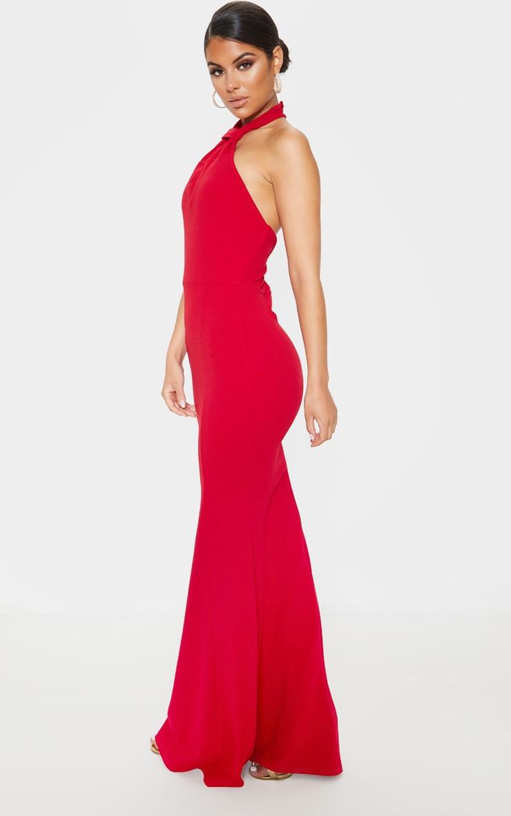 Scarlet Knot Detail Fishtail Maxi Dress 4