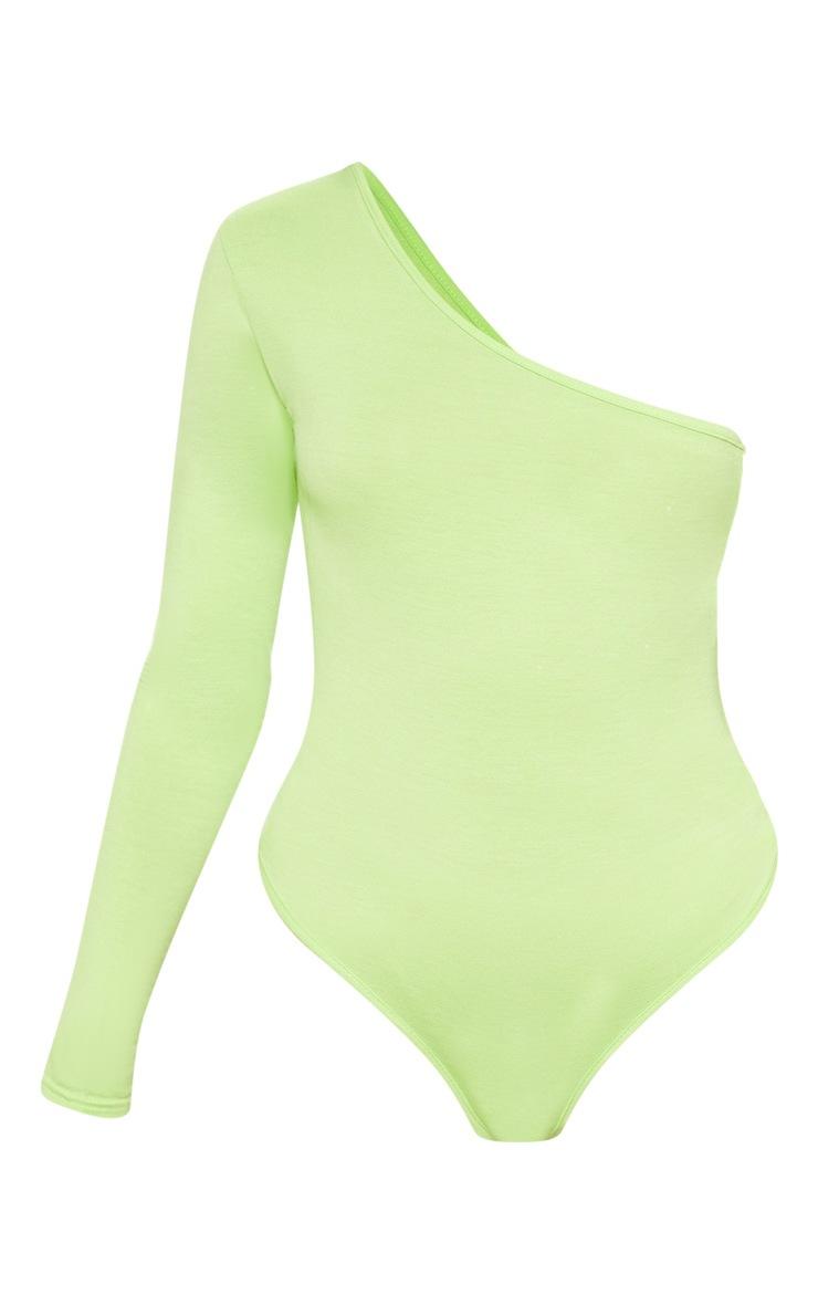 Lime One Shoulder Jersey Long Sleeve Bodysuit 3