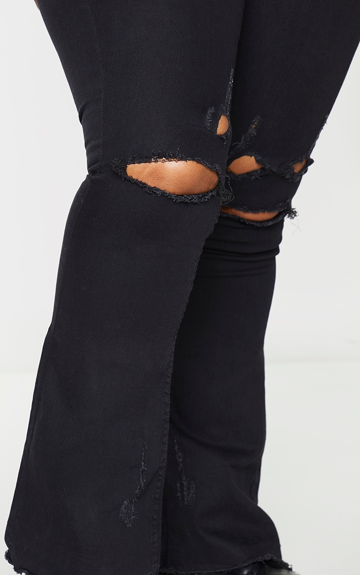 Plus Black Ripped Knee Flare Jeans 4