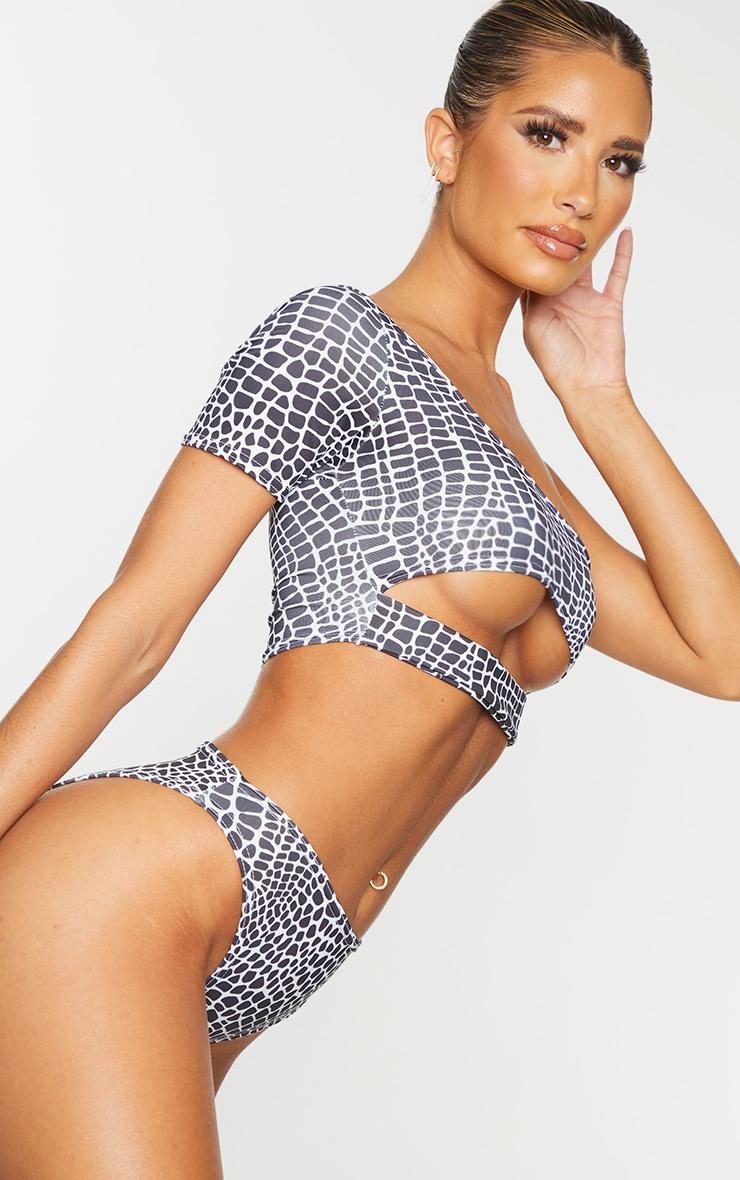 Bas de bikini échancré cheeky noir & blanc imprimé serpent 4