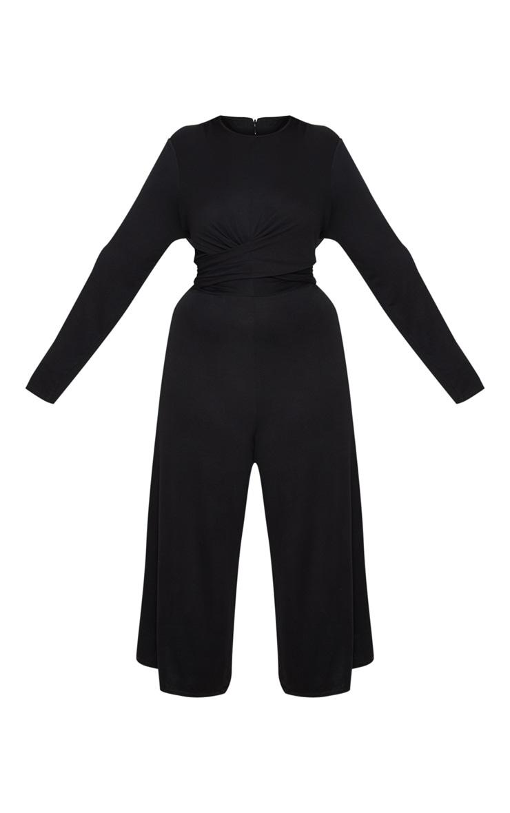 Plus Black Twist Front Culotte Jumpsuit 3
