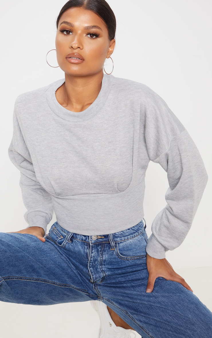Grey Rib Extreme Hem Crop Sweater 5