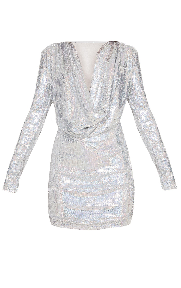 Silver Sequin Cowl Neck Bodycon Dress 4