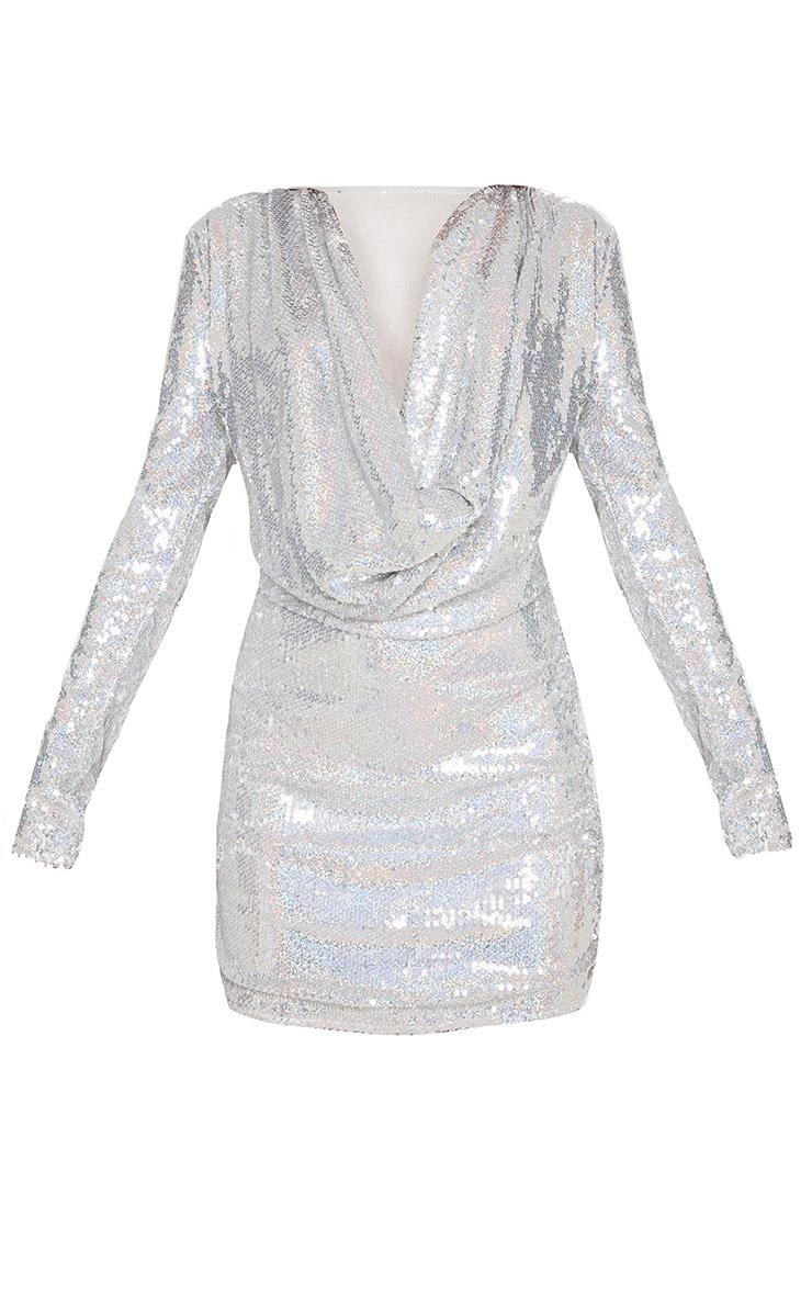 Silver Sequin Cowl Neck Bodycon Dress 4
