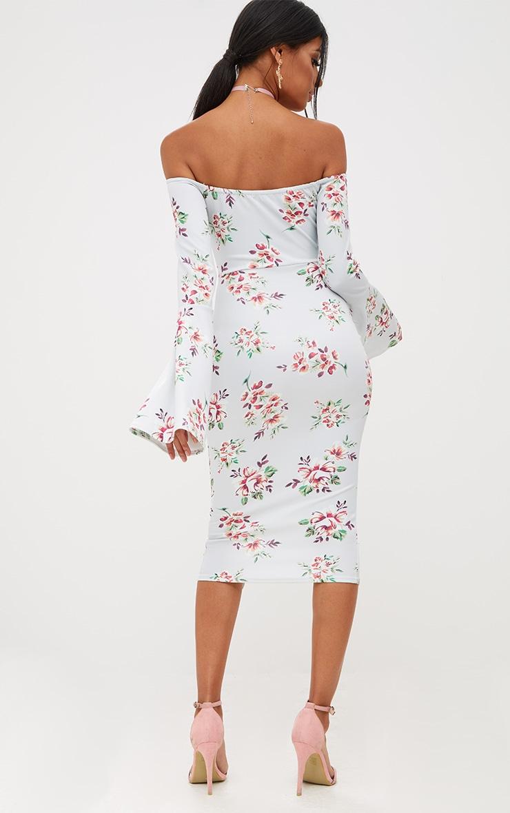 Grey Floral Bardot Flared Sleeve Midi Dress 2