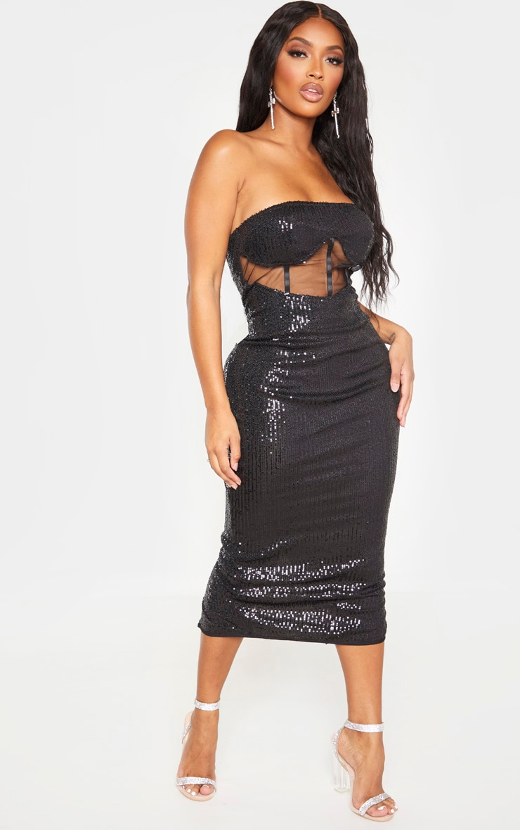 Shape Black Sequin Mesh Corset Detail Midi Dress 4